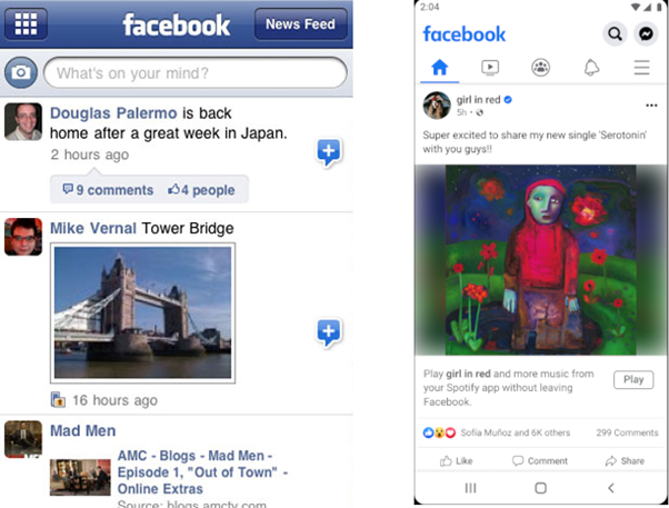 Comparing the grid icon in 2010 and hamburger icon in 2021 with the Facebook app